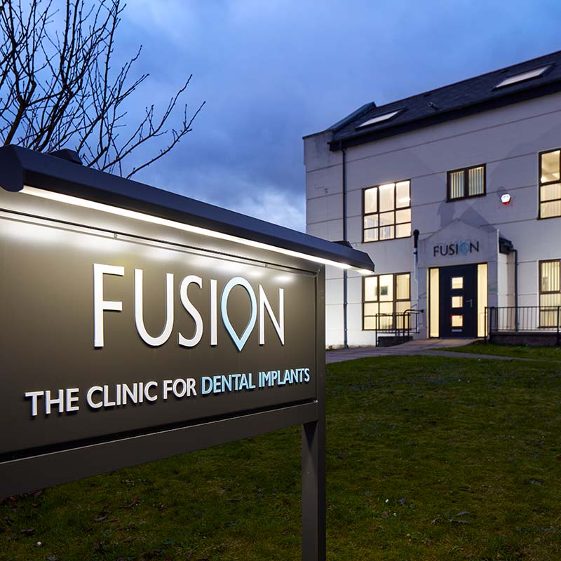 Photograph of Fusion Dentistry practice at night