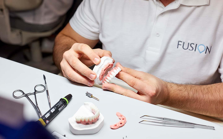 Closeup of dental study model